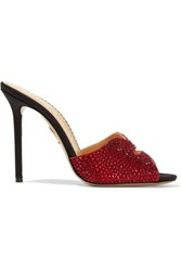 Charlotte Olympia Agent Provocateur Kiss My Feet Crystal Embellished Satin Mules Claret
