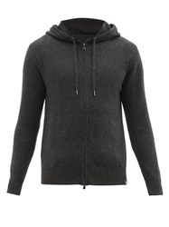Derek Rose Zip Through Cashmere Hooded Sweater Grey