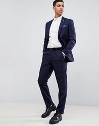 Burton Menswear Slim Fit Check Suit Trousers In Navy