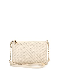 Neiman Marcus Woven Faux Leather Crossbody Bag Bone