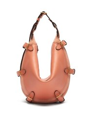 Altuzarra Play Small Buckled Leather And Suede Bag Coral