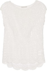 Alice Olivia Arya Crocheted Cotton Top Off White