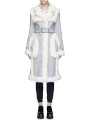 Stella Mccartney Faux Fur Wool Blend Felt Overcoat Grey
