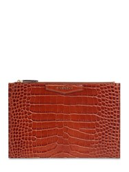 Givenchy Croc Embossed Leather Pouch Cognac