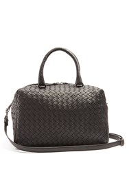 Bottega Veneta Boston Intrecciato Small Cross Body Bag Black