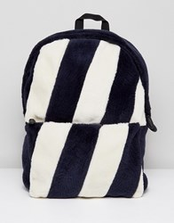 Asos Backpack In Striped Faux Fur Design Navy