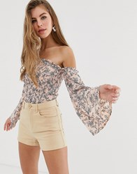 Parisian Floral Shirred Off Shoulder Top Pink