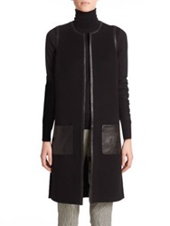 Ralph Lauren Black Label Sebrina Leather Trimmed Long Vest