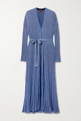 Missoni Belted Lurex Cardigan Blue