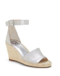 Vince Camuto Leera Leather Wedge Espadrilles Silver