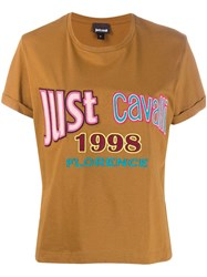 Just Cavalli Embroidered Logo T Shirt Brown