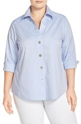 Plus Size Women's Foxcroft 'Paige' Non Iron Cotton Shirt Blue Wave
