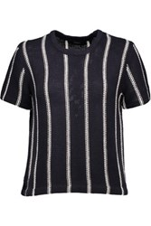 Theory Emmeris Striped Knitted Cotton Top Midnight Blue