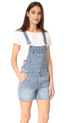 Free People Relaxed Boyfriend Overalls Light Denim