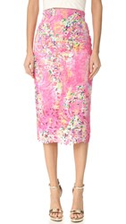 Monique Lhuillier Lace Pencil Skirt Pink Multi
