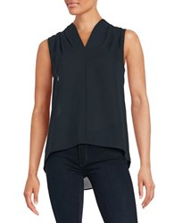 T Tahari Sleeveless Hi Lo Blouse Navy