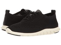 Cole Haan Zerogrand Feather Oxford Black Knit Leather Ivory Women's Lace Up Casual Shoes