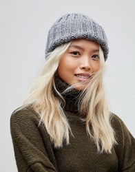 French Connection Chunky Knit Beanie Hat Grey