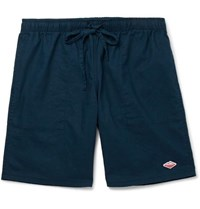 Battenwear Active Lazy Linen And Cotton Blend Drawstring Shorts Navy