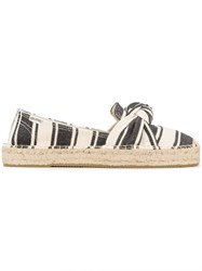 Soludos Striped Bow Detail Espadrilles Women Cotton Rubber 9 Black