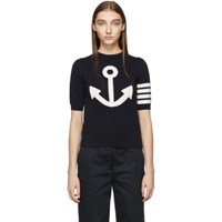 Thom Browne Navy Anchor Icon Sweater