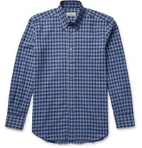 Canali Button Down Collar Gingham Cotton Flannel Shirt Blue