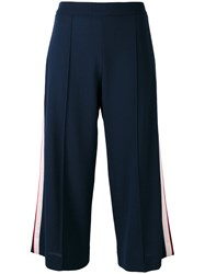 Mother Of Pearl Cropped Trousers Women Acetate Viscose Wool 8 Blue