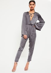 Missguided Grey Satin Wrap Lightweight Hooded Jumpsuit
