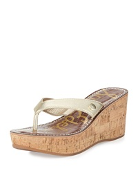 Sam Edelman Romy Metallic Leather Wedge Sandal Gold