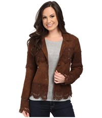 Scully Lizina Soft Suede Crochet Inset Jacket Brown Women's Coat