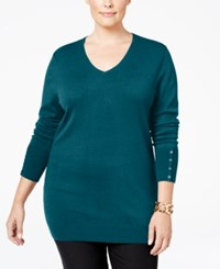 Jm Collection Plus Size V Neck Button Sleeve Sweater Only At Macy's Teal Abyss