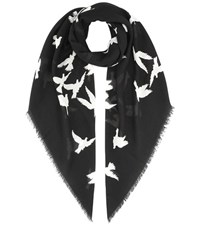 Saint Laurent Printed Wool Scarf Black