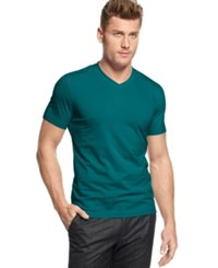 Alfani Red Fitted V Neck T Shirt Harbor Blue