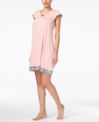 Ellen Tracy Flutter Sleeve Short Nightgown Coral Print