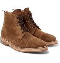Thom Browne Cap Toe Suede Boots Brown