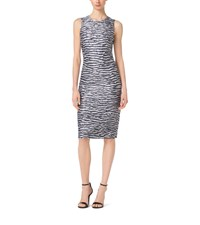 Striped Crushed Satin Sheath Dress