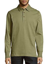 The Normal Brand Solid Long Sleeve Cotton Polo Green