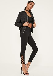 Missguided Black Lace Up Hem Detail Ponte Leggings