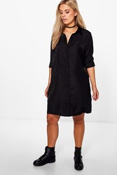 Boohoo Anna Woven Shirt Dress Black