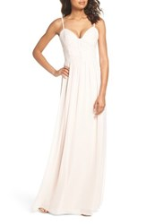 Hayley Paige Occasions Ruffle Detail A Line Chiffon Gown Blush Cashmere