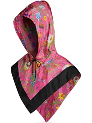 Gucci Nylon Hood With Flora Print Pink