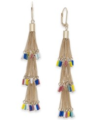 Inc International Concepts I.N.C. Gold Tone Multicolor Seed Bead Chain Tassel Drop Earrings Created For Macy's Gold Multi