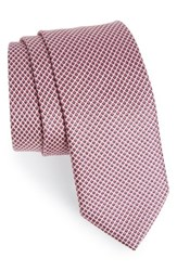 Boss Men's Geometric Silk Tie Pink