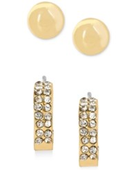 Touch Of Silver Touch Of Gold Stud And Hoop Earring Set In 14K Gold Plating