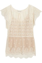 Stella Mccartney Lace And Embroidered Tulle Blouse Ivory