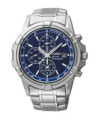 Seiko Mens Stainless Steel Solar Chronograph Watch Silver