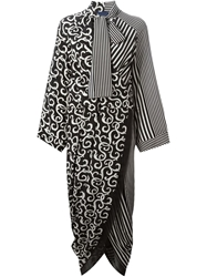 Sharon Wauchob Mixed Print Wrap Style Dress Black
