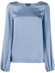 Theory Satin Blouse Blue