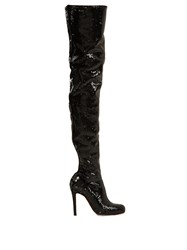 Christian Louboutin Louise 100Mm Over The Knee Boots Black Silver