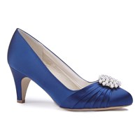 Paradox London Pink Alaina Mid Heel Stiletto Court Shoes Blue